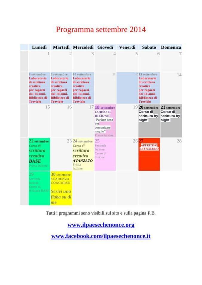 programma settembre 2014